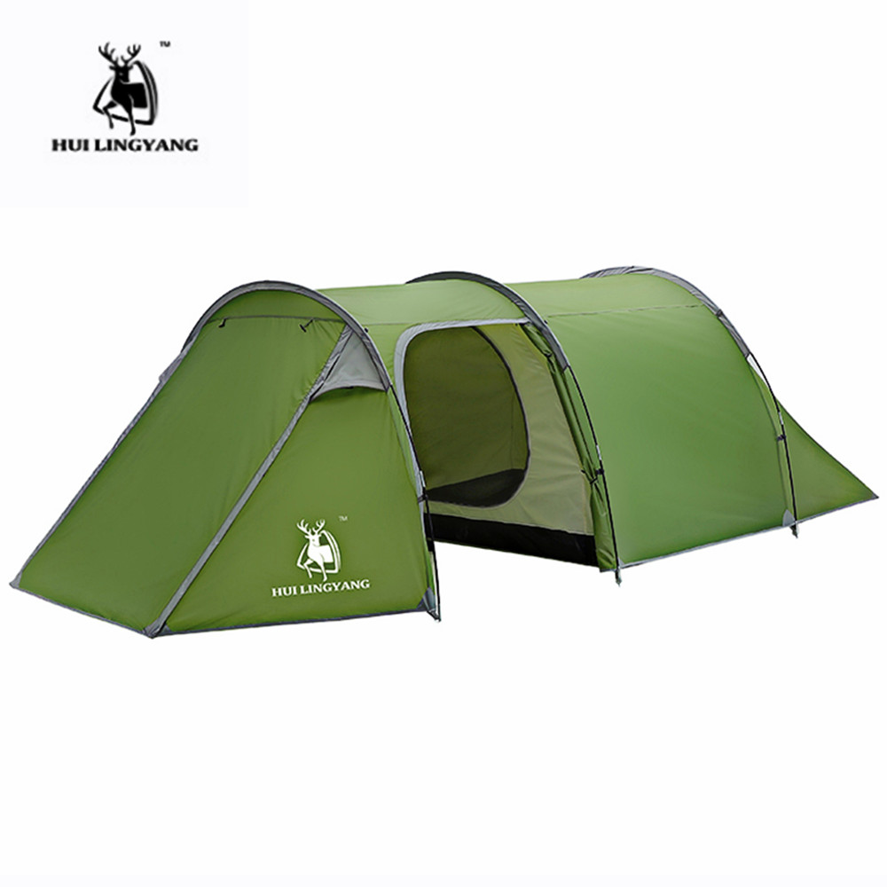 HUILINGYANG Outdoor Camping Tents One-room And One-bedroom Double-layer Rainproof Tunnel Tent Waterproof Family Picnic Tent