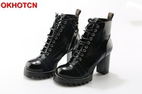 OKHOTCN Fashion Thick Heels Platform Womens Boots Lace Up Genuine Leather Women Ankle Boots Black Chunky Heel Botas Altas Mujer
