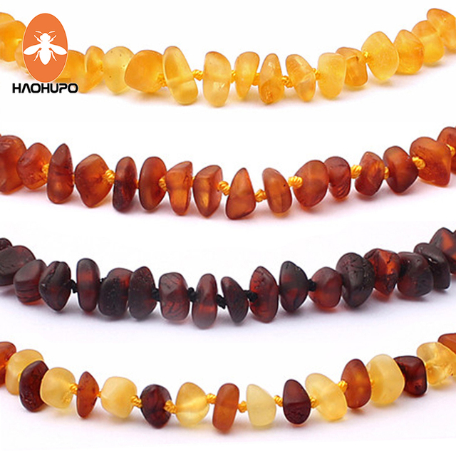 HAOHUPO Unpolished Amber Teething Necklace Raw Cherry with Honey Baltic Natural