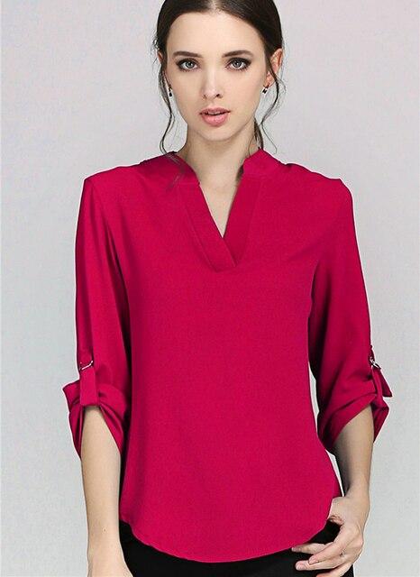 2f34e7b811 Elegante sólido profundo cuello en V gasa blusas manga larga Mujer Chiffon camisa  moda cómoda mujer