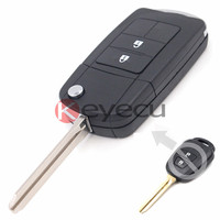 New Uncut Flip Remote Key Shell Case Fob 2 Button For Toyota RAV4 Corolla Avalon Camry