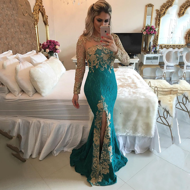 624f9f49b25b PW012 Sheer Back Lace Mermaid Prom Dresses Gold Appliques Beaded ...