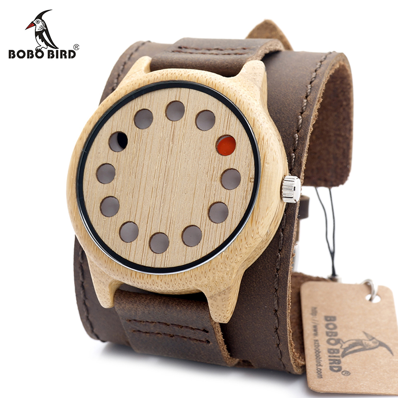 BOBO BIRD Miljøvennlig Wooden Wristwatch Menn Topp Luksus Brand Unique Holes Design Leather Quartz Watch med Leather Strap