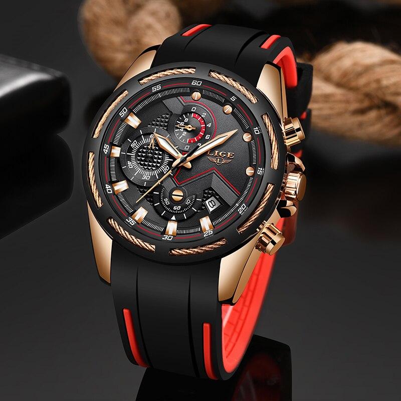 LIGE Novo Mens Relógios Top de Luxo Da Marca Homens Relógio Esportivo Único Data Relógio de Quartzo dos homens Relógio de Pulso Relogio À Prova D' Água masculino