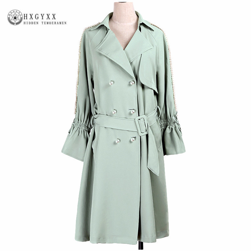 2018 Autumn Womens Trench Coat Double Breasted Belt Vintage Windbreaker Beading Coats Women Female Overcoat Ropa Mujer Okb865