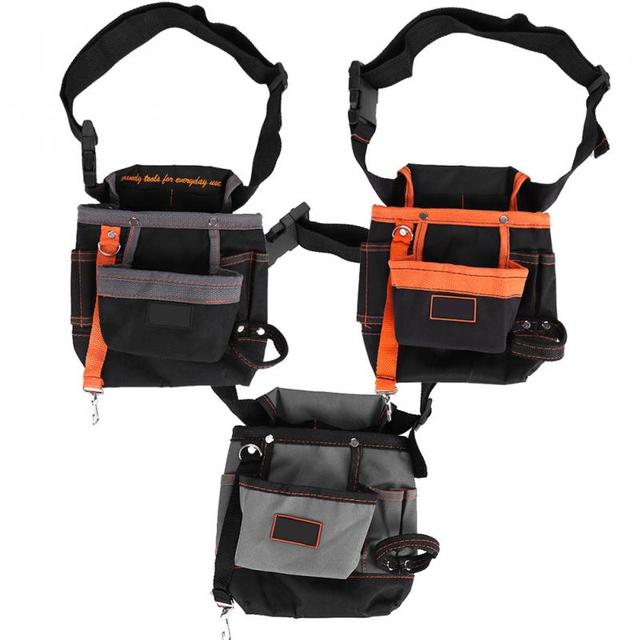 8 Pockets Belt Tool Bags Adjule Portable Pouch Electrician Bag Black Grey Edge Orange