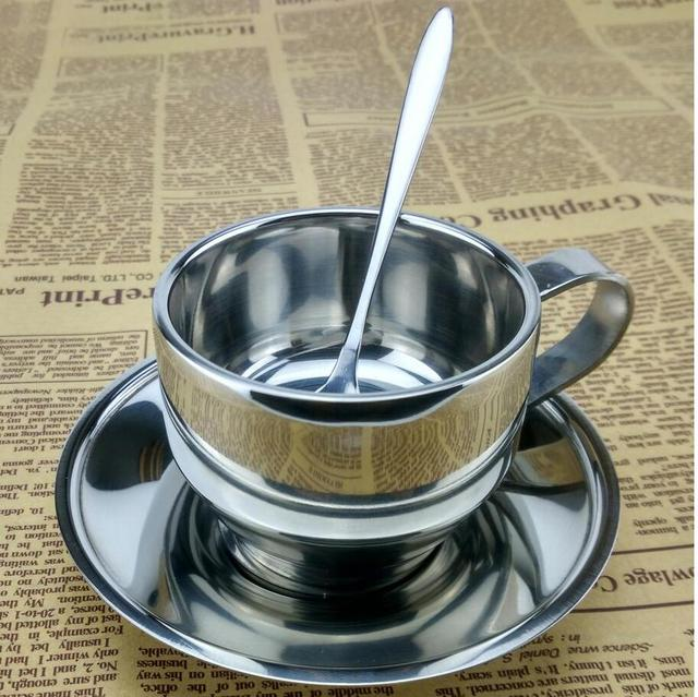 Double Wall Europe Style Stainless Steel Coffee Cup Set Espresso Cups Mug With Spoon And Saucer