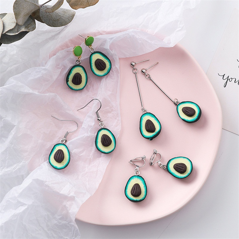 Creative Fun Fruit Avocado Resin Acrylic Long Pendant Earrings Simple Trendy Wild Sweet Young Girl Earrings Jewelry Accessories