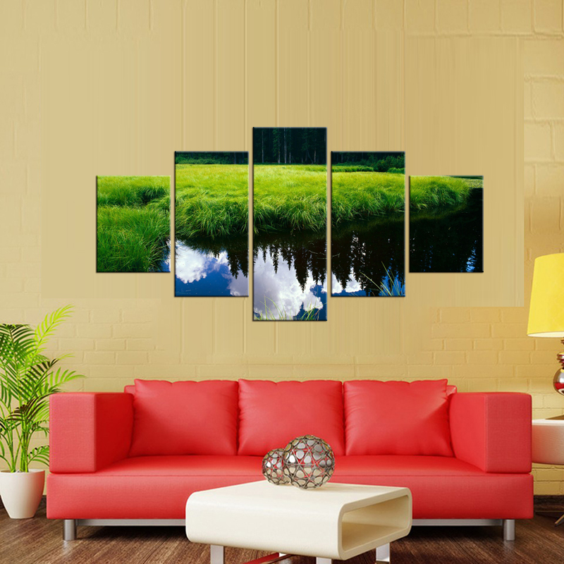 Latest 5 Panel Lake reflection Wall Art Oil Painting On Canvas ...