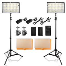 2 ב 1 צילום 240 LED סטודיו תאורת ערכת Dimmable אולטרה גבוהה כוח פנל דיגיטלי מצלמה DSLR למצלמות עם אור stand