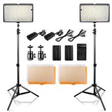 2 en 1 photographie 240 Studio LED Kit déclairage Dimmable Ultra haute puissance panneau appareil photo numérique DSLR caméscope avec support de lumière