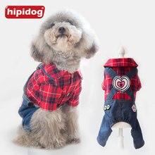 Hipidog Pet Dog Red Black Plaid Shirt Denim Jeans Heart Strap Pants Rompers Puppy Spring Autumn Jumpsuits Clothes Overalls XS-XL цена 2017
