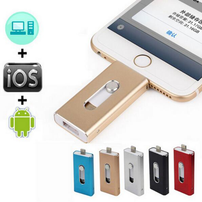 ightning OTG Flash Drive 8GB 16GB 32GB 64GB 128GB For iOS 10 and USB For Computer PC For Tablet OTG Pendrive for iPhone U Disk