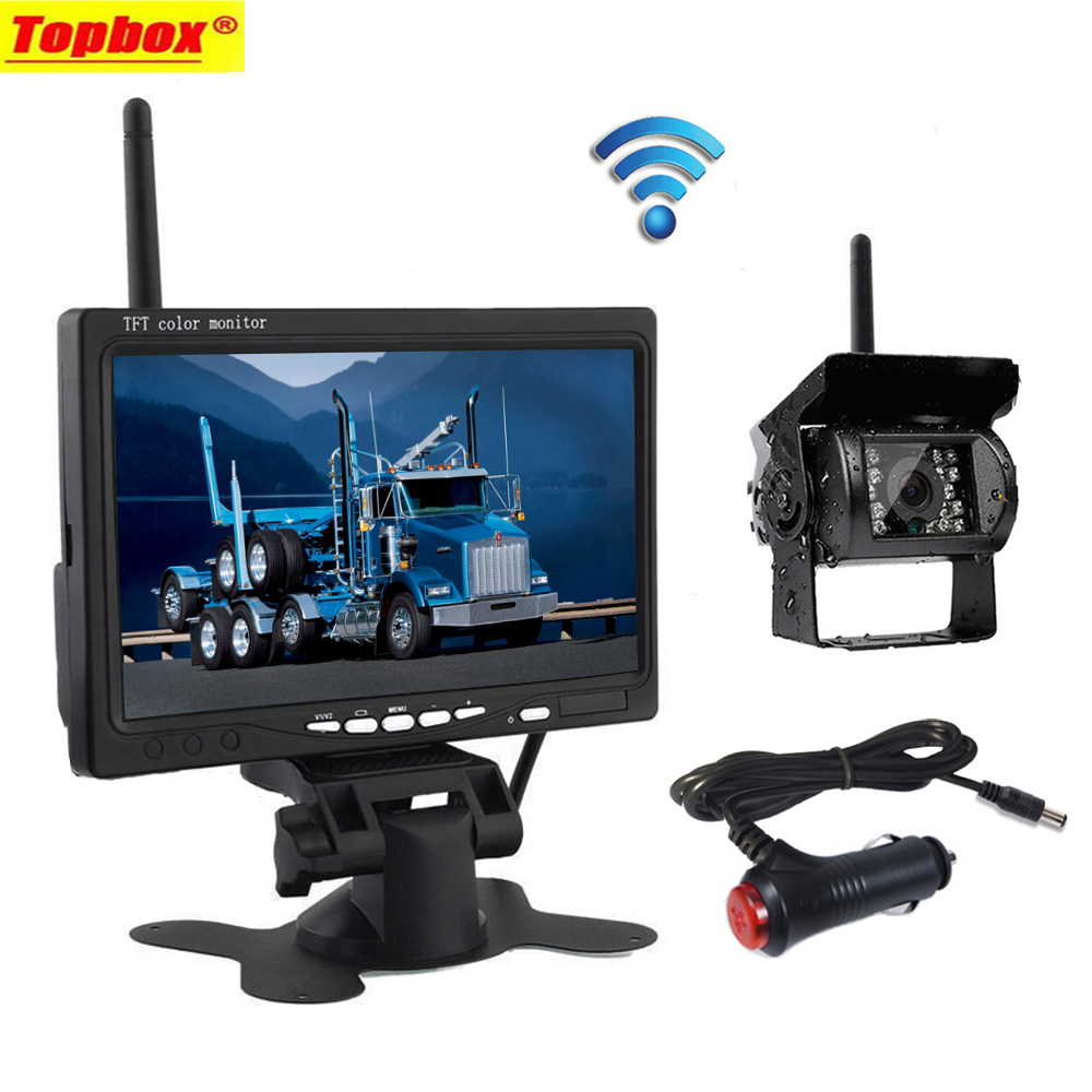 Wireless 7 HD TFT LCD Vehicle Rear View Monitor Waterproof Backup Camera Night Vision Parking System with Car Charger For Truck