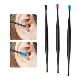 Image 4 - 부드러운 실리콘 귀 선택 양면 Earpick 귀 왁스 큐렛 리무버 귀 청소기 숟가락 나선형 귀 청소 도구 나선형 디자인