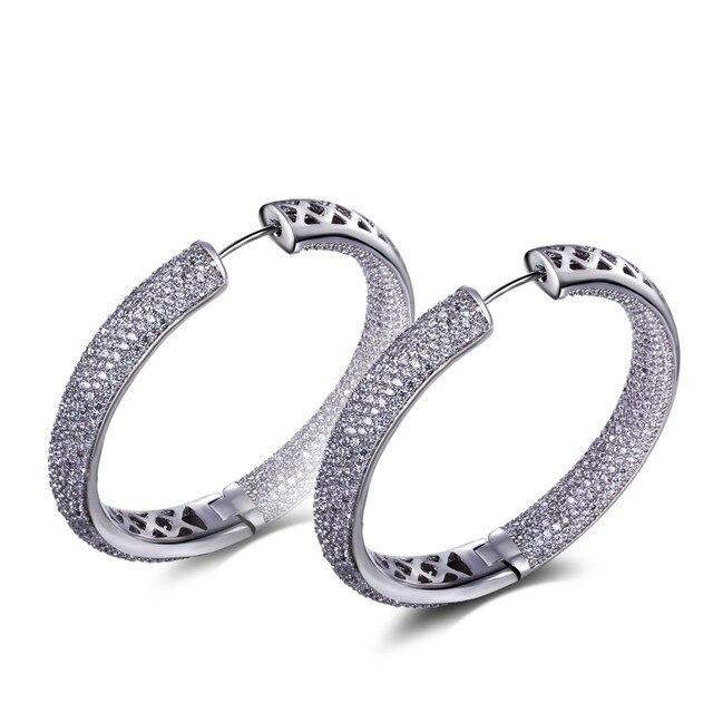 48mm large luxury Hoop earring 2017 cubic zirconia earring Myself jewellery Circle Hoop Earring bijoux Jewelry