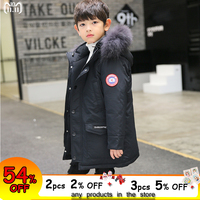 Kids Jacket Winter Boys Made of Goose Feather Down Coat with Fur Hooded 2018 Winter Children Clothing Big Boys Parkas 10 12 14