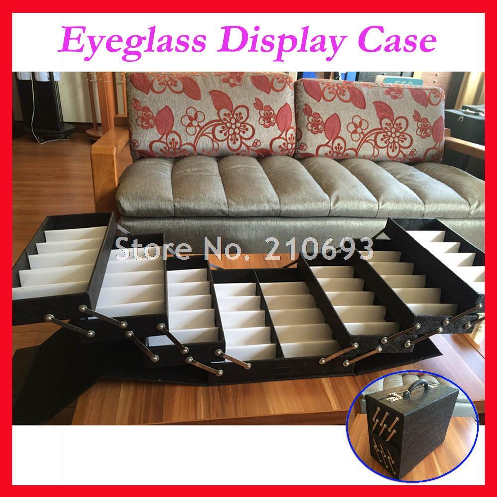 Eyeglasses display - 48 Slot Foldable Eyeglass Eyewear Sunglasses Suitcase Display Case Sample Carton Hold 48pcs Of Glasses 48a