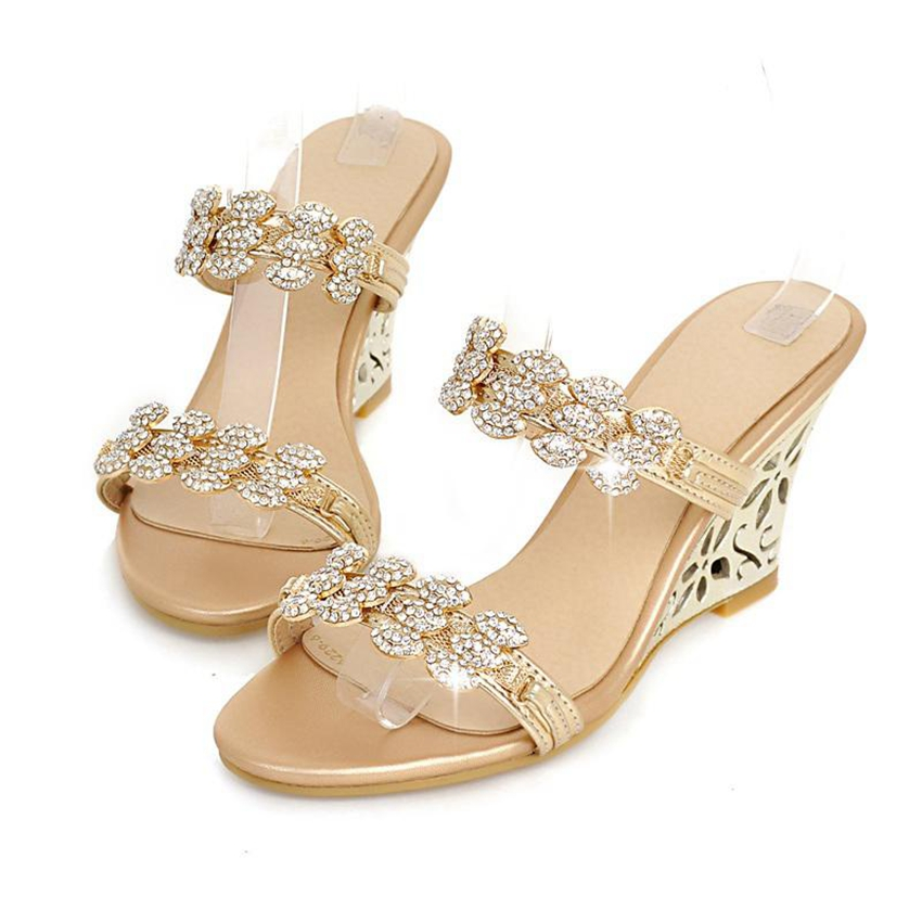 ce3cfe3976fcf REAVE CAT New Arrivals Glittering Wedge sandals Mules Rhinestone Summer  sandals Silver Gold Party high heels 8cm