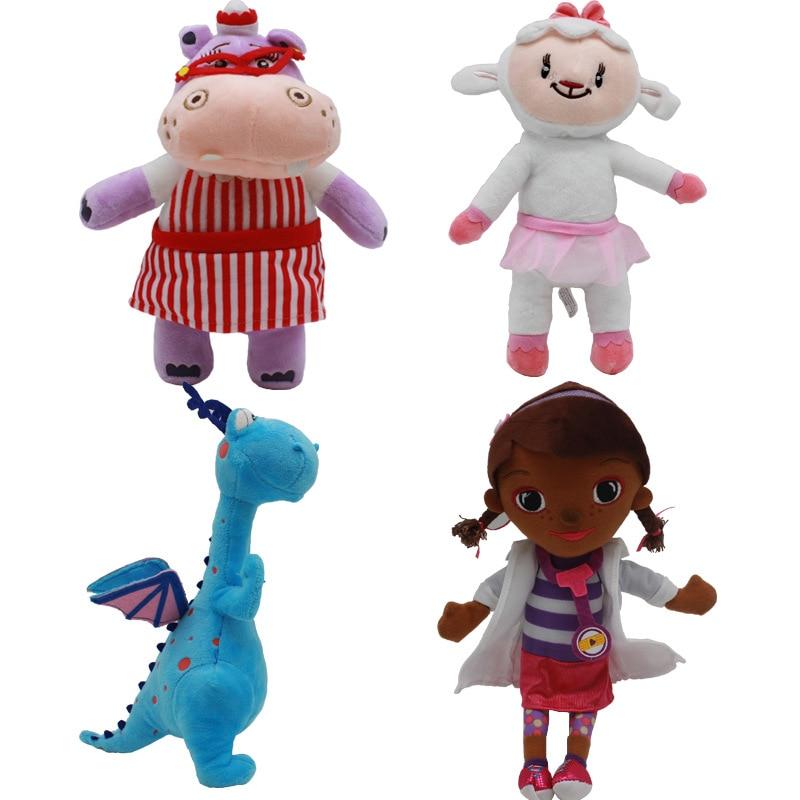4pcs Plush Doctor Doll Soft Doc McStuffins Dottie Hippo Sheep Dinosaur Animal stuffed Plush Toy Kids Christmas Gifts