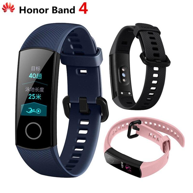 Оригинальный huawei Honor Band 4 Смарт Браслет Amoled цвет 0,95 сенсорный экран плавание осанки обнаружения сердечного ритма сна оснастки