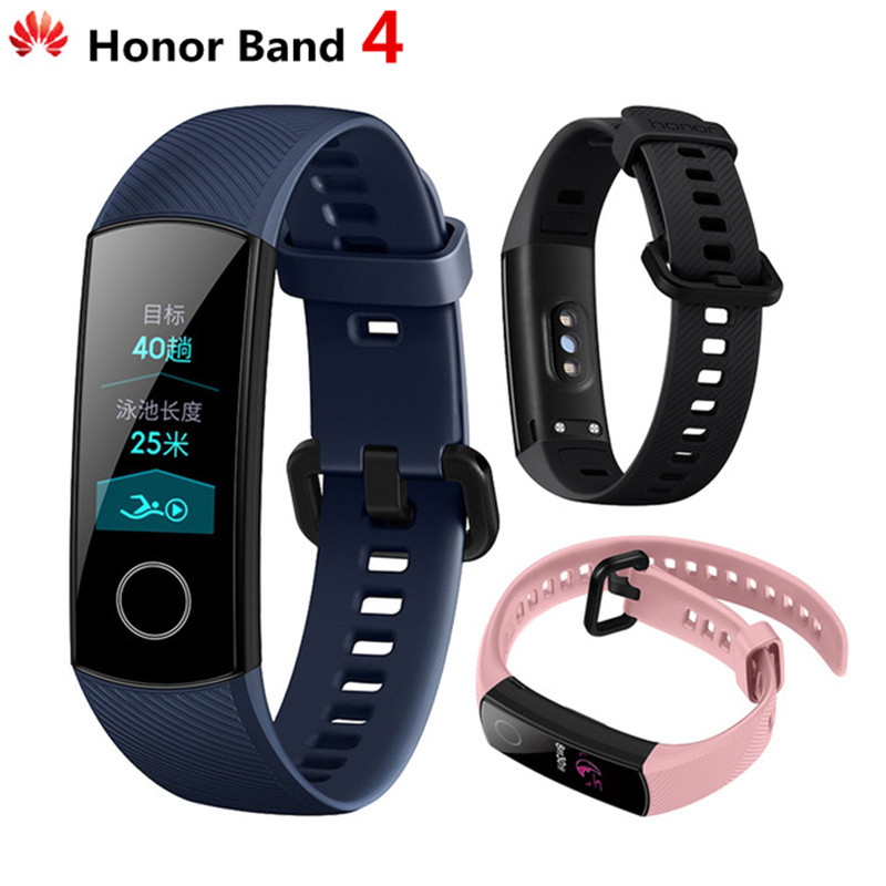 Huawei Original Honor banda 4 pulsera inteligente Amoled Color 0,95 Pantalla táctil nadar postura detectar Corazón de dormir Snap