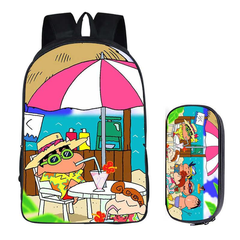 Японский Аниме Crayon Shin-chan 2 шт набор с пенал для карандашей рюкзаки рукоделие принт классные школьные сумки для детей Мужская сумка для книг