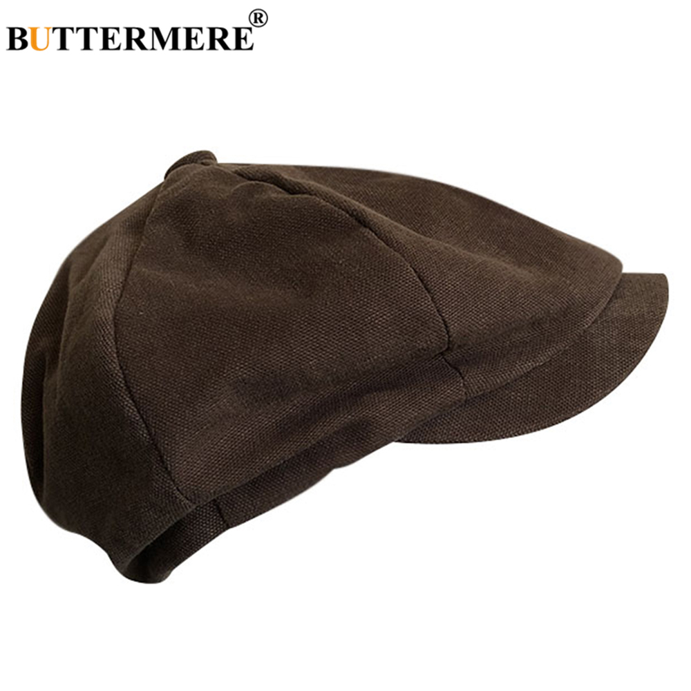 Men Cotton Peaked Cap Winter Autumn Beret Cap Cabbie Hat Gatsby Newsboy Hat Black