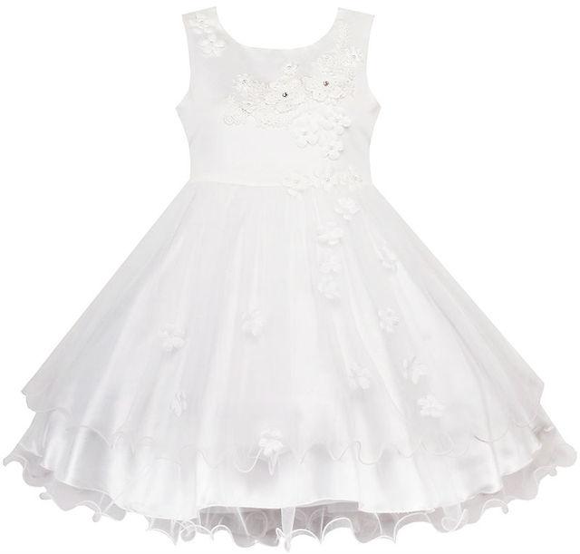Flor Meninas Vestido de Casamento Branco Pageant Vestido Da Dama de honra 2017 Vestidos de Festa Da Princesa Menina Roupas de Verão Tamanho 3-10 Vestido de Verão