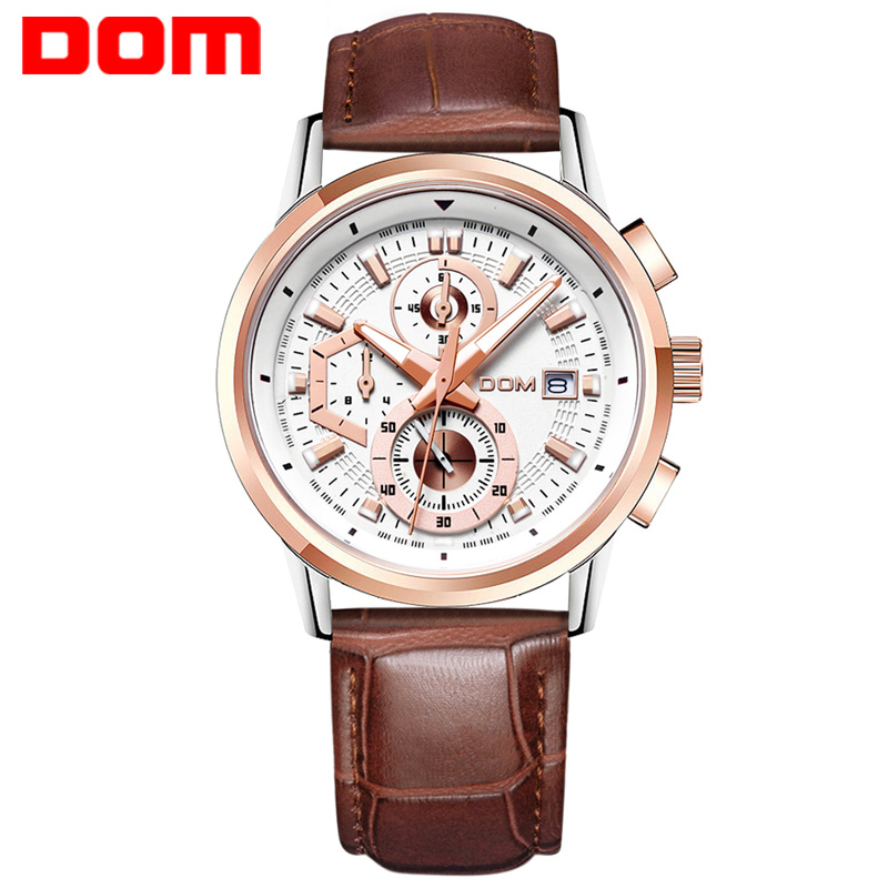 DOM Brand sports watch man  fashion  quartz military chronograph wrist watches men army style M-6033L jedir fashion leather sports quartz watch for man military chronograph wrist watches men army style 2020 free shipping