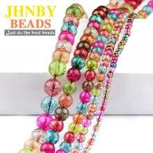 JHNBY-Bola redonda de cristal de turmalina Natural, cuentas sueltas de colores para joyería, pulsera, pendientes, fabricación de colgantes DIY de 15