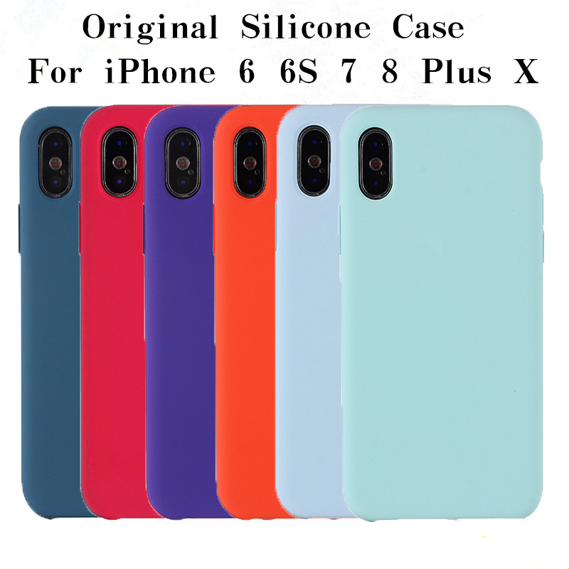 nuovo stile dc4f4 b2e90 Original Silicone Iphone 6 6S Plus Officia With LOGO Phone Cover For Iphone  X 8 7 Plus For Apple Retail Box Cases