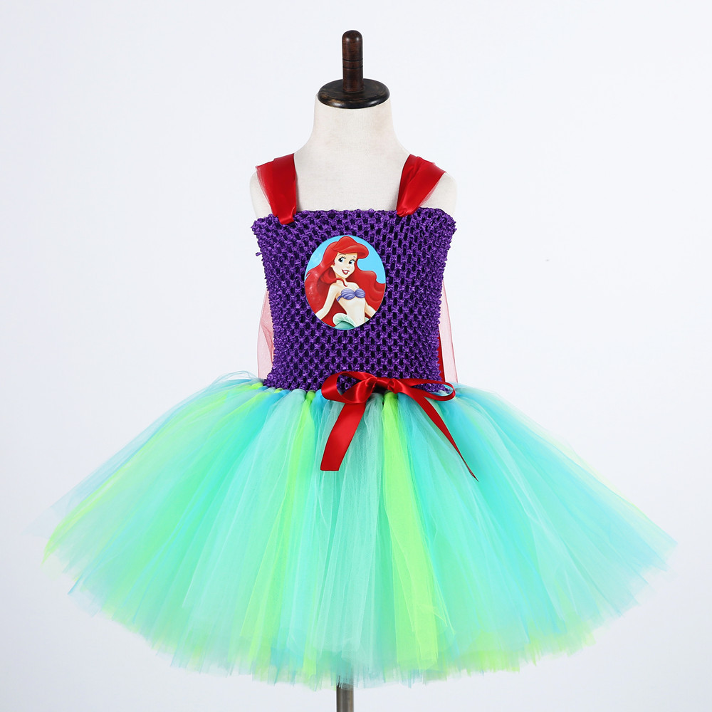 Cute Cartoon Girls Tulle Dress Green Birthday Party Tutu Dress Girl Princess Dress Kids Mermai Ariel Tinkerbell Cosplay Costume fancy girl mermai ariel dress pink princess tutu dress baby girl birthday party tulle dresses kids cosplay halloween costume