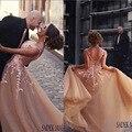 Новые вечерние платья органзы длина чистой экипажа декольте аппликации цветы узелок шампанское пром платья 2015 бесплатная доставка