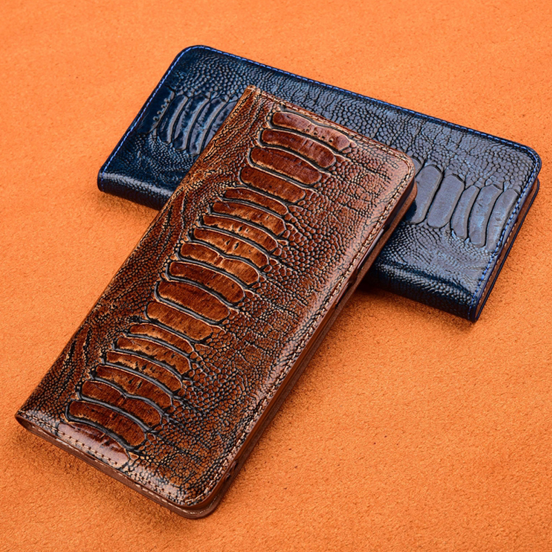 Luxurious Ostrich Foot Grain Magnet Stand Flip Case For Apple IPhone 5 5S SE 6 6S Plus Cover Genuine Cowhide Leather Phone Case
