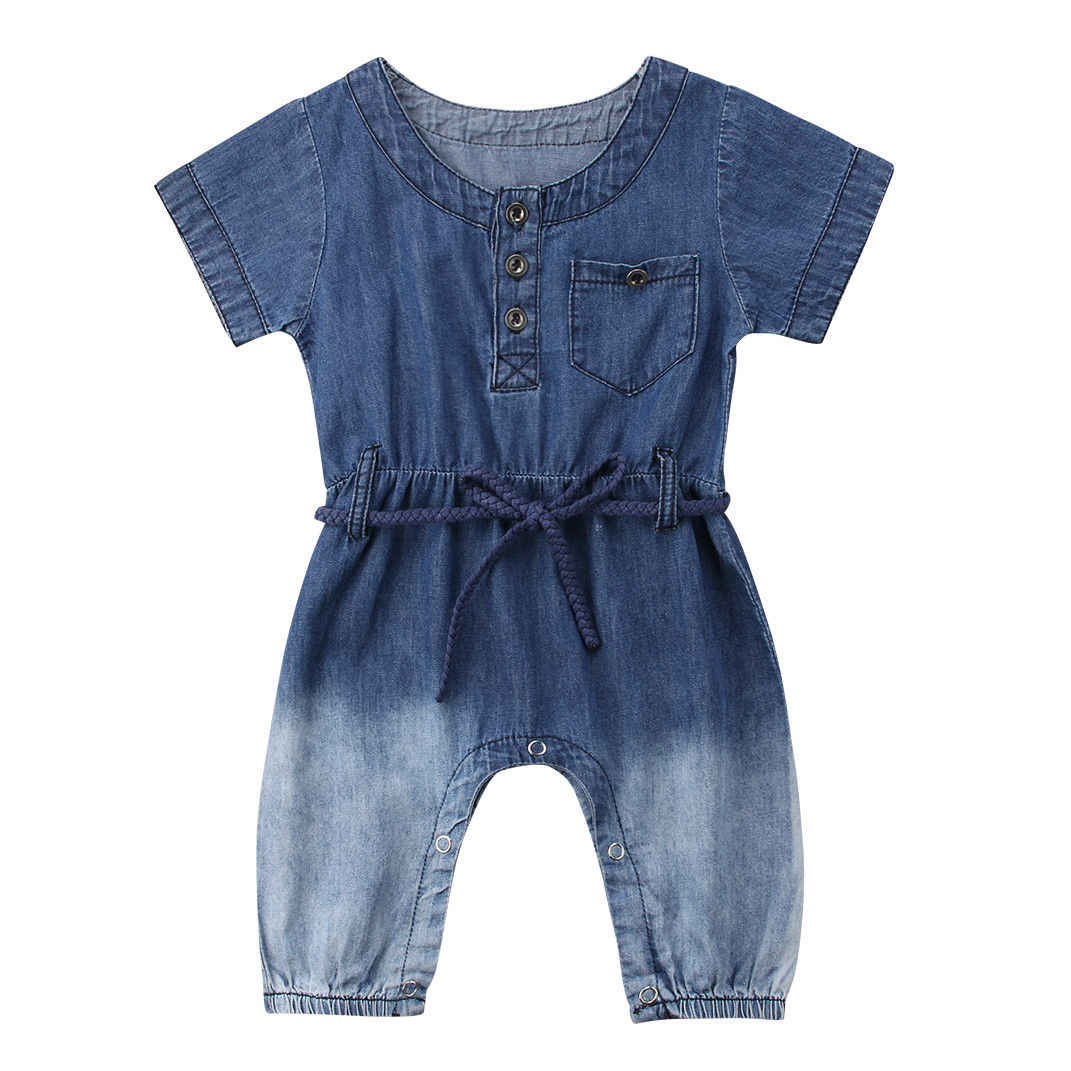 b457d1b2dab Fashion Newborn Baby Girl Denim Romper Short Sleeve Loose Jumpsuit Playsuit  Outfits Summer Clothes 0-