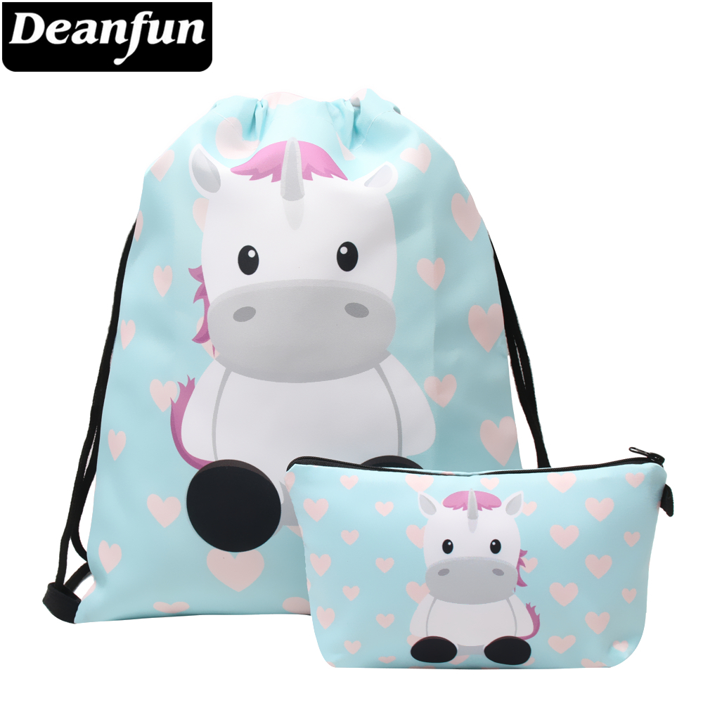 Deanfun Women Drawstring Bag 2 PCS Set 3D Printed Cute Unicorn Multifunctional For Storage 015