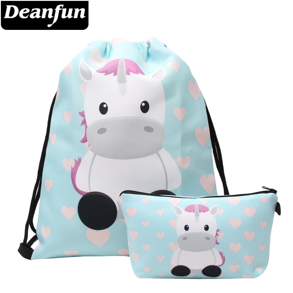 Deanfun Women Drawstring Bag 2 PCS Set 3D Printed Cute Unicorn Multifunctional For Storage 015