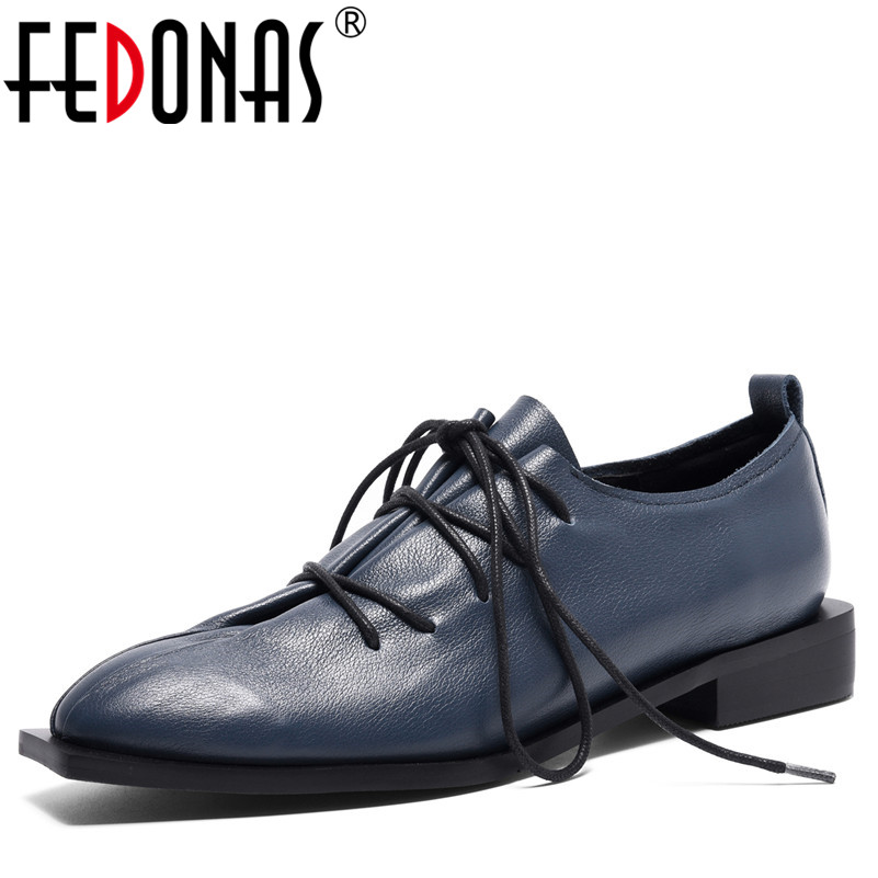 FEDONAS Women Fashion Sexy Round Toe Thick High Heels Pumps Lace Up Genuine Leather Shoes Woman Nude Single New Autumn Shoes bonjomarisa new arrivals 2016 solid plain round toe lace up sporting thick platform pumps women fashion cassual shoes women