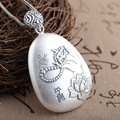 Thai Silver Jewelry Pendant Heart Sutra Bless Peace Carving Flower Antique Style Buddha Pendant