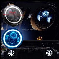 2PCS 7INCH LED Headlights White Halo Ring Angel Eyes Blue Turning Signal Lights For Jeeps Wrangler