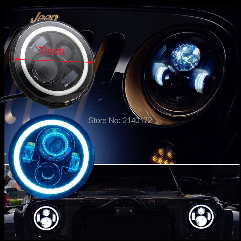 7 INCH Car light souce Halo Ring Angel Eyes for Jeeps Wrangler JK Off Road 4x4 CJ H4 Hi-Lo Beam Front Driving Headlamp 7 inch round 45w led halo blue angel eyes headlights h4 h13 led headlight for jeeps wrangler jk off road 4x4