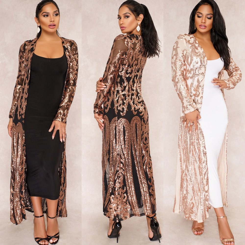 Women Sexy Sequin Sheer Long Cardigan Coat Fashion Long Sleeve Open Front   Trench   Party Clubwear Sparkly See Through Cardigans