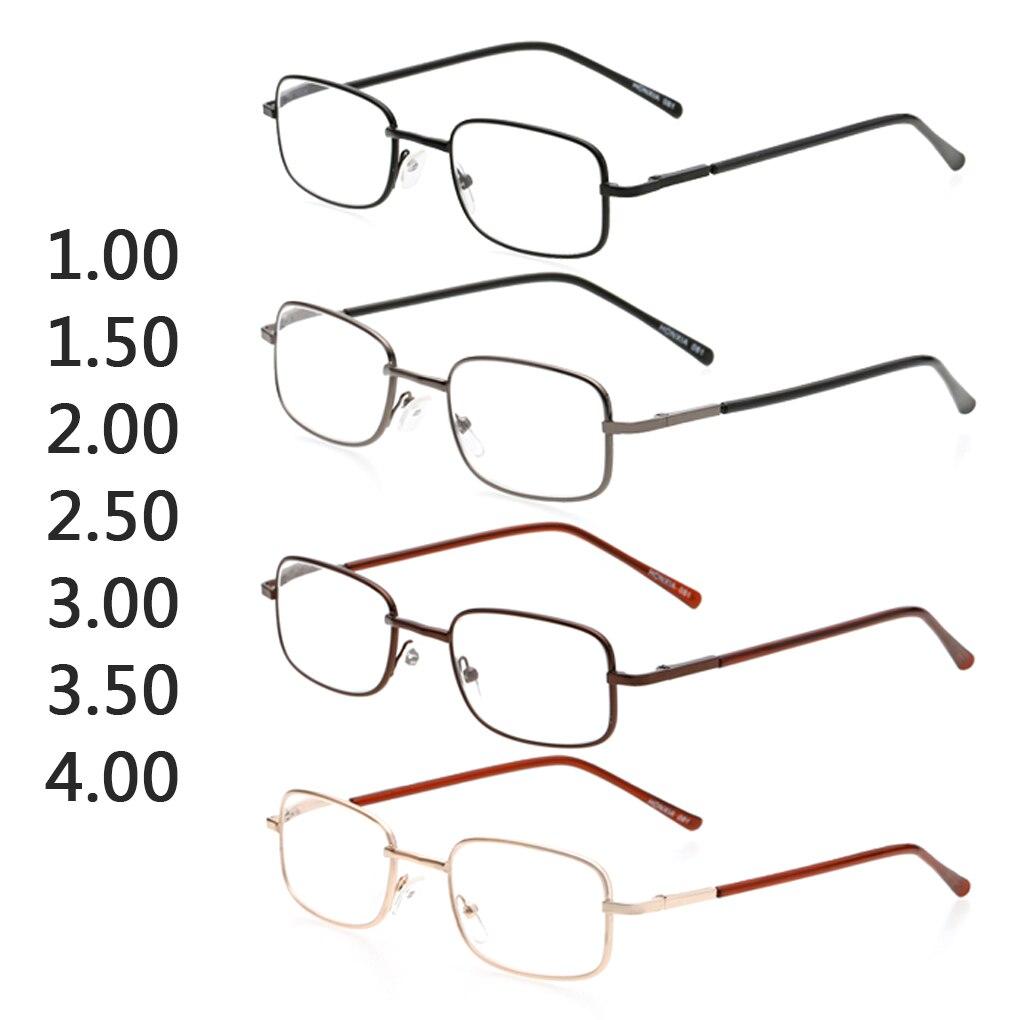 Hot Sale Metal Eyeglasses Frame Rectangle Presbyopia Hyperopia Old Man Reading Glasses 100-400 Degree