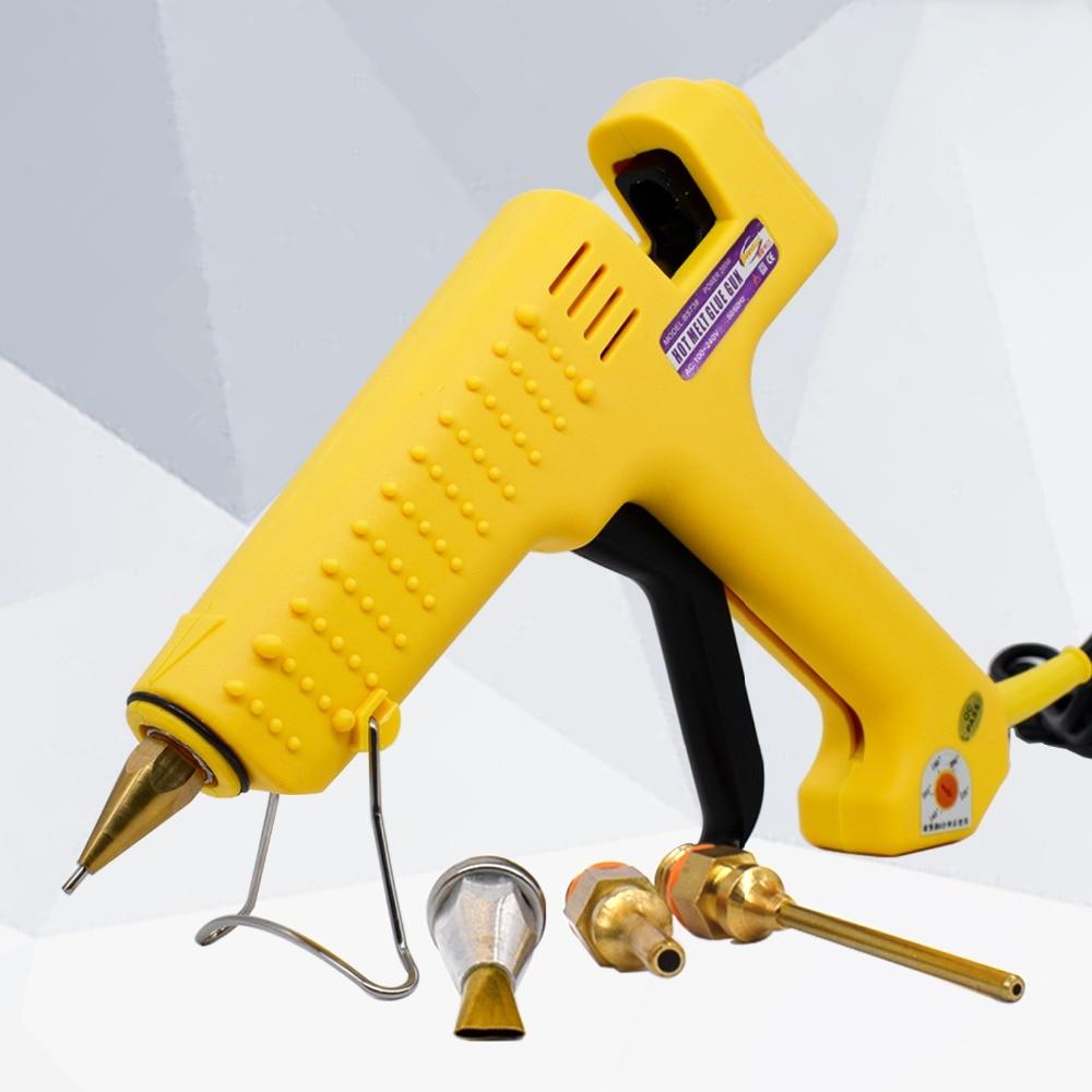 High Power Industrial Grade Hot Glue Gun 200W With 11mm Glue Sticks  1.5*70mm 6.0*45mm Copper Nozzle 3pcs Adjustable Temperature
