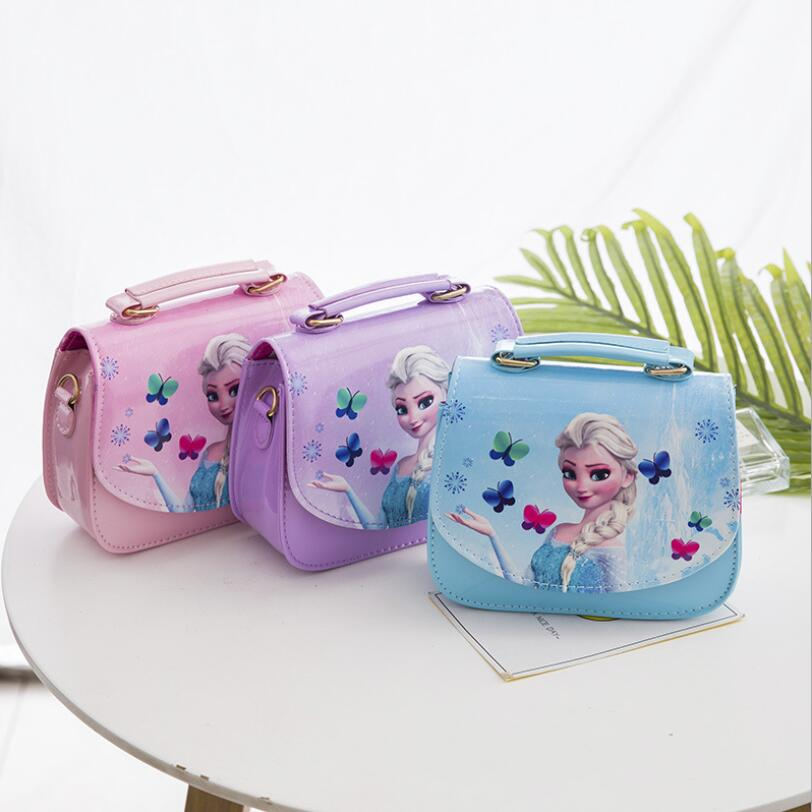 New Cute Mini Bag Children Elsa Handbag For Women Cartoon Cat PU Waterproof Should Bag Kids Girls Fashion Messenger Bags