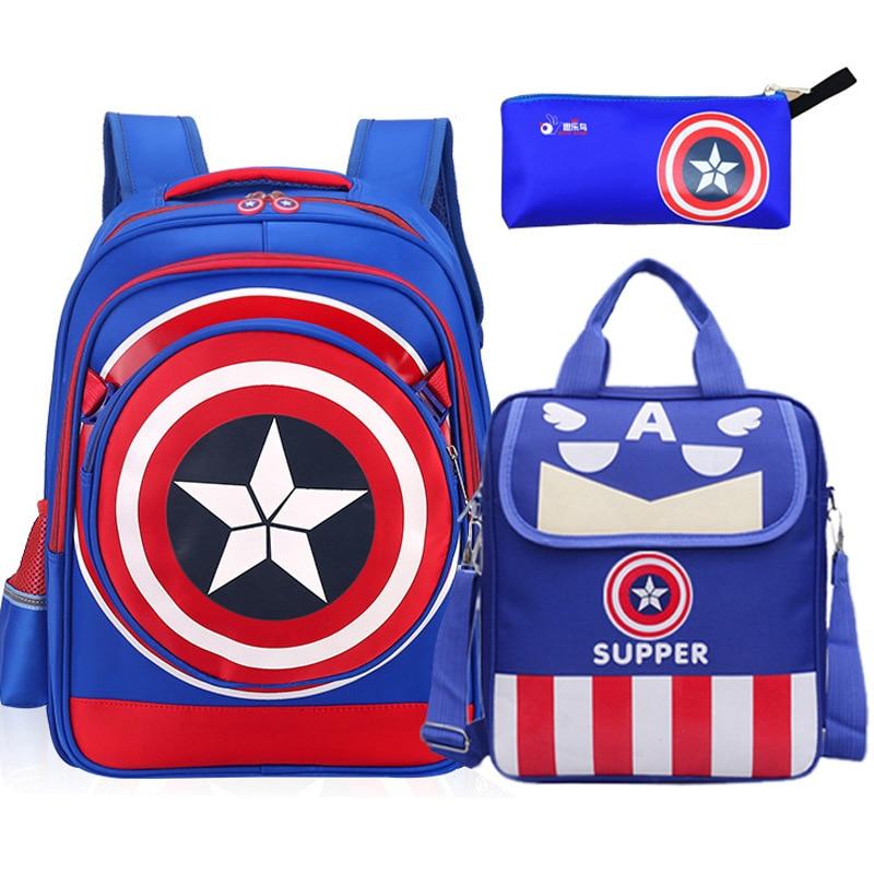 Cartoon Captain America Children School Bag Student Schoolbags Boy Waterproof Backpack Kids1 6Grade Child Gift School Bags     - title=