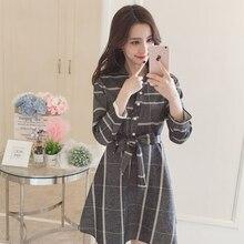 2019 hot sale new womens spring and autumn Dress long sleeve A-Line dress lapel elegant free belt (3 colors) S-XXL