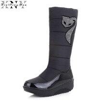 XiuNingYan Plus Size 35-44 New Women Winter Boots Warm Cotton Down Shoes Waterproof Boots Snow Boots Fur Platform Mid Calf Boots