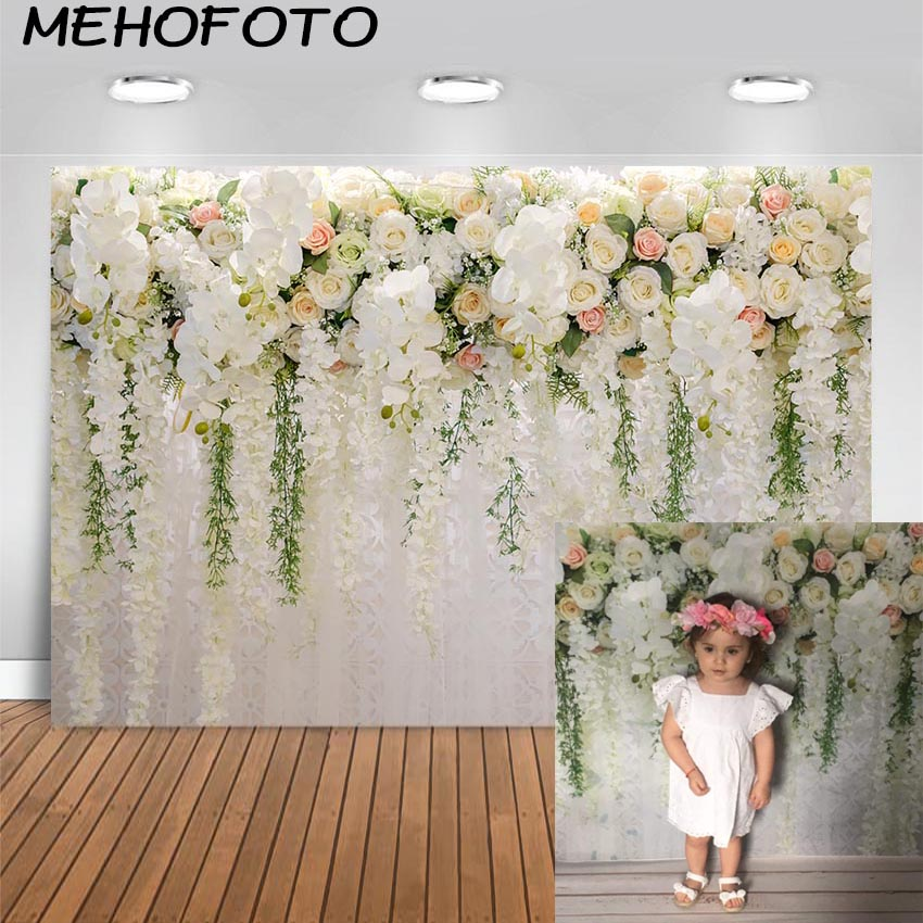 MEHOFOTO Floral Wedding Backdrop White and Pink Rose Wall Photo Background Bridal Shower Romantic Scene Photography Backdrops